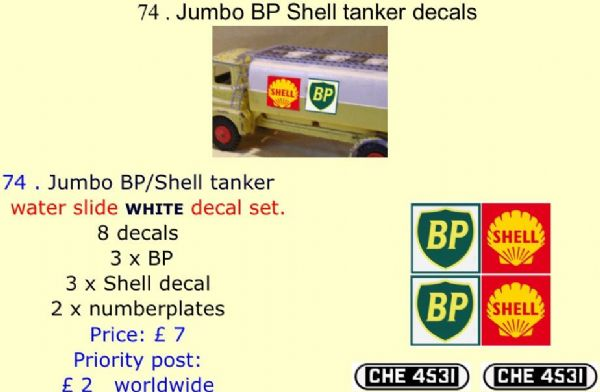 74 . Tri-ang Jumbo BP Shell tanker decals